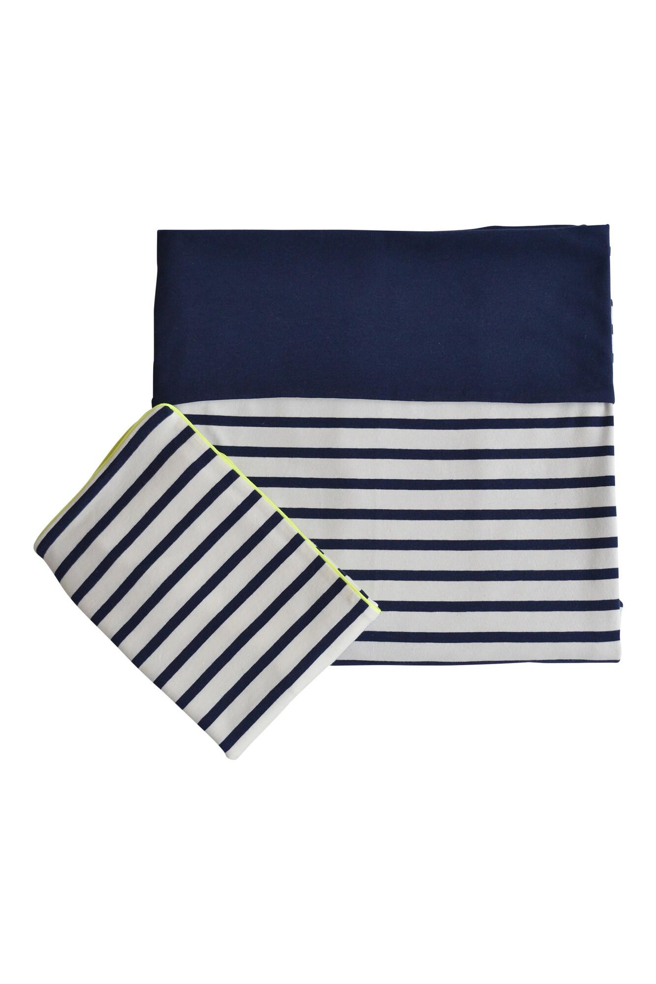 Dekbedovertrek ledikant - Stripes navy/ye