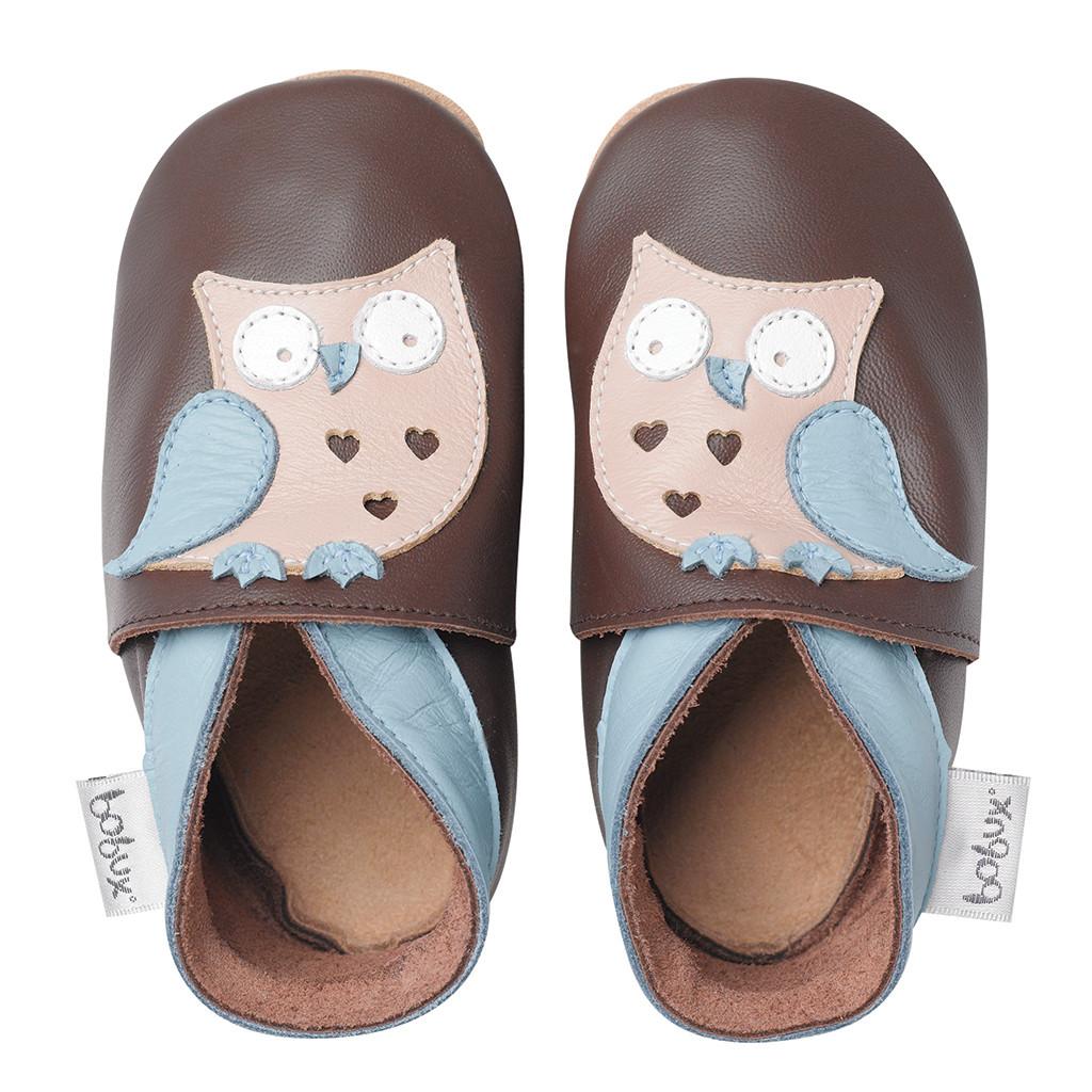 Leren pantoffels - Uil bruin