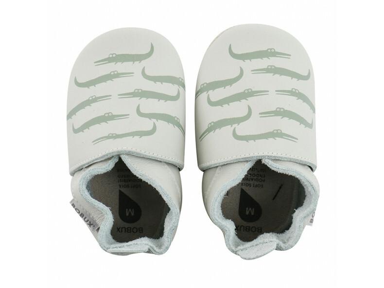 Leren pantoffels - Mint crocodille