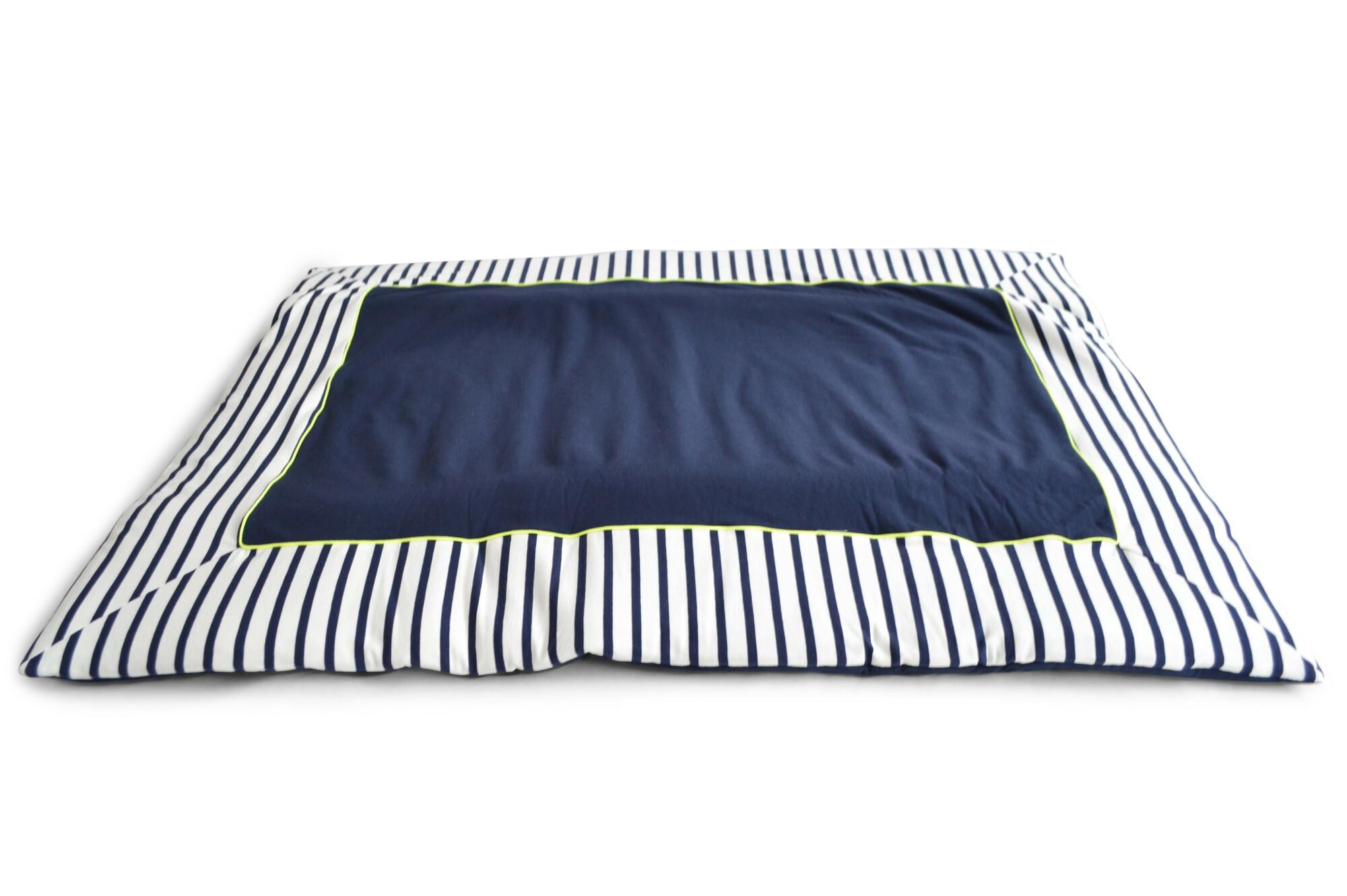 Boxkleed - Stripes navy/ye