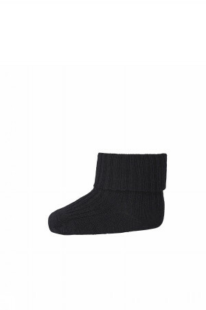 Ankle wool rib turn down - Black