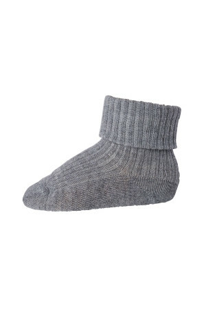 Ankle wool rib turn down - Grey marl.